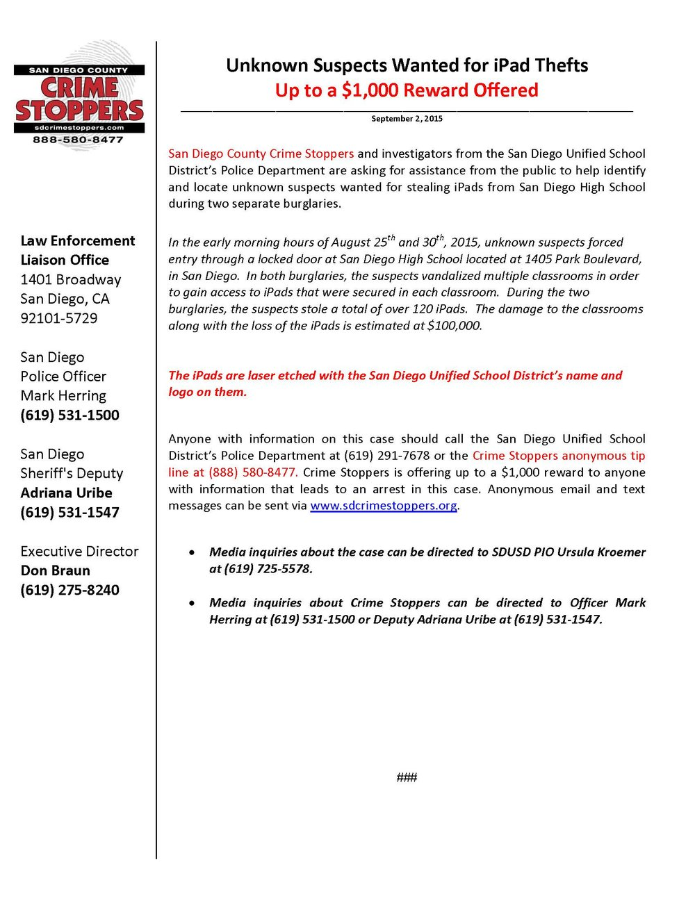 090215 San Diego High School iPad Thefts