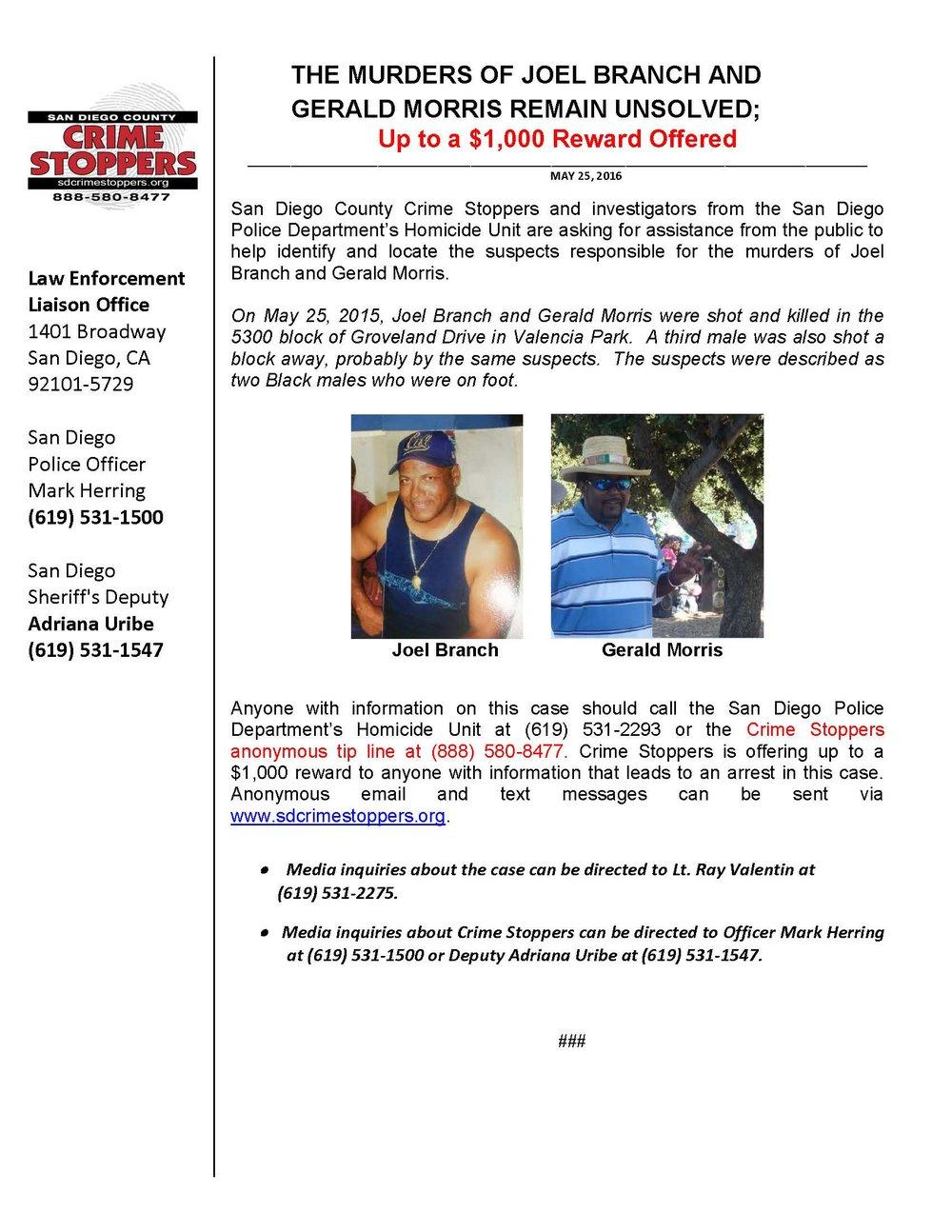 052516 Branch-Morris Homicide