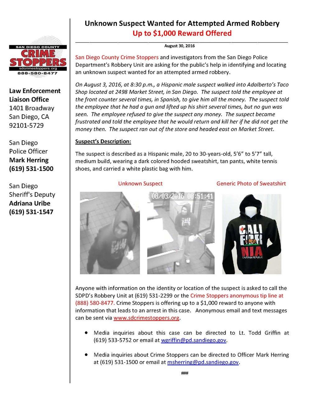 083016 Taco Shop Robbery