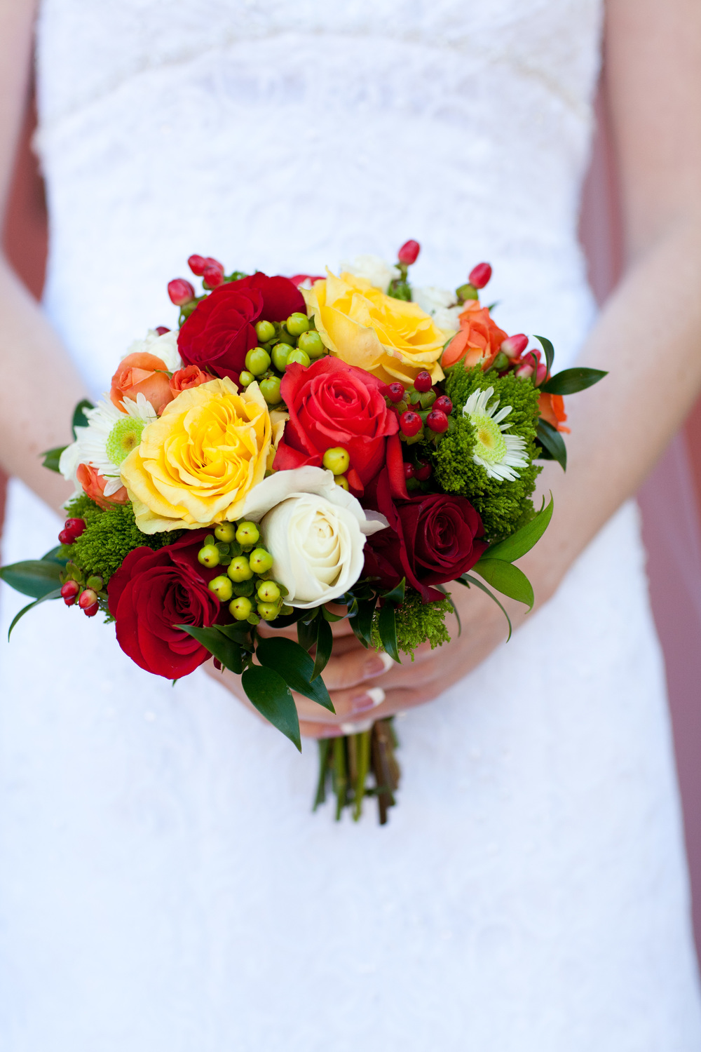 7.  Yellow, orange, red fall color roses