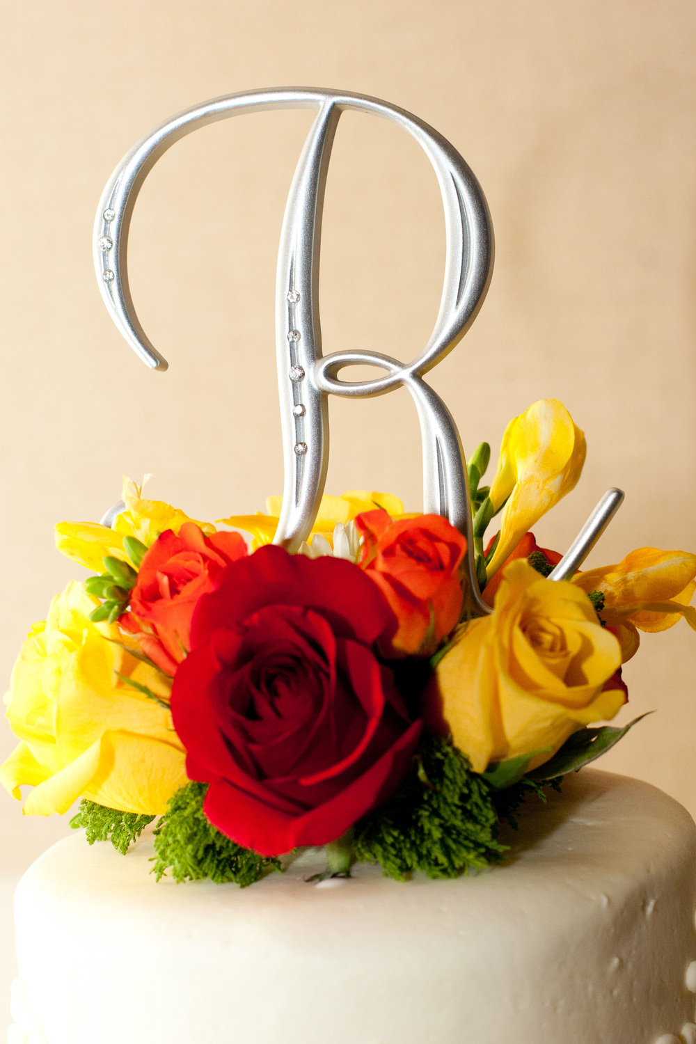 8. Yellow, orange, red roses fall cake topper