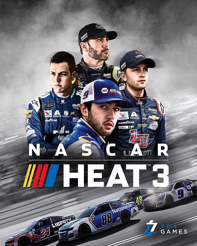 Here's the cover of the official NASCAR video game we created with @704nascarheat featuring @chaseelliott9 @jimmiejohnson @alexbowman88 @williambyron . . . #nascar #nascarheat3 #videogames #drivinggame #retouching #tridentpostproduction #hendricksracing #chaseelliott