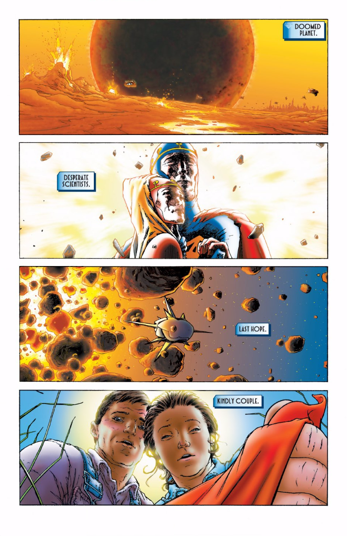 The one-page recap of Superman's origin story, from All-Star Superman #1 by Grant Morrison and Frank Quitely.