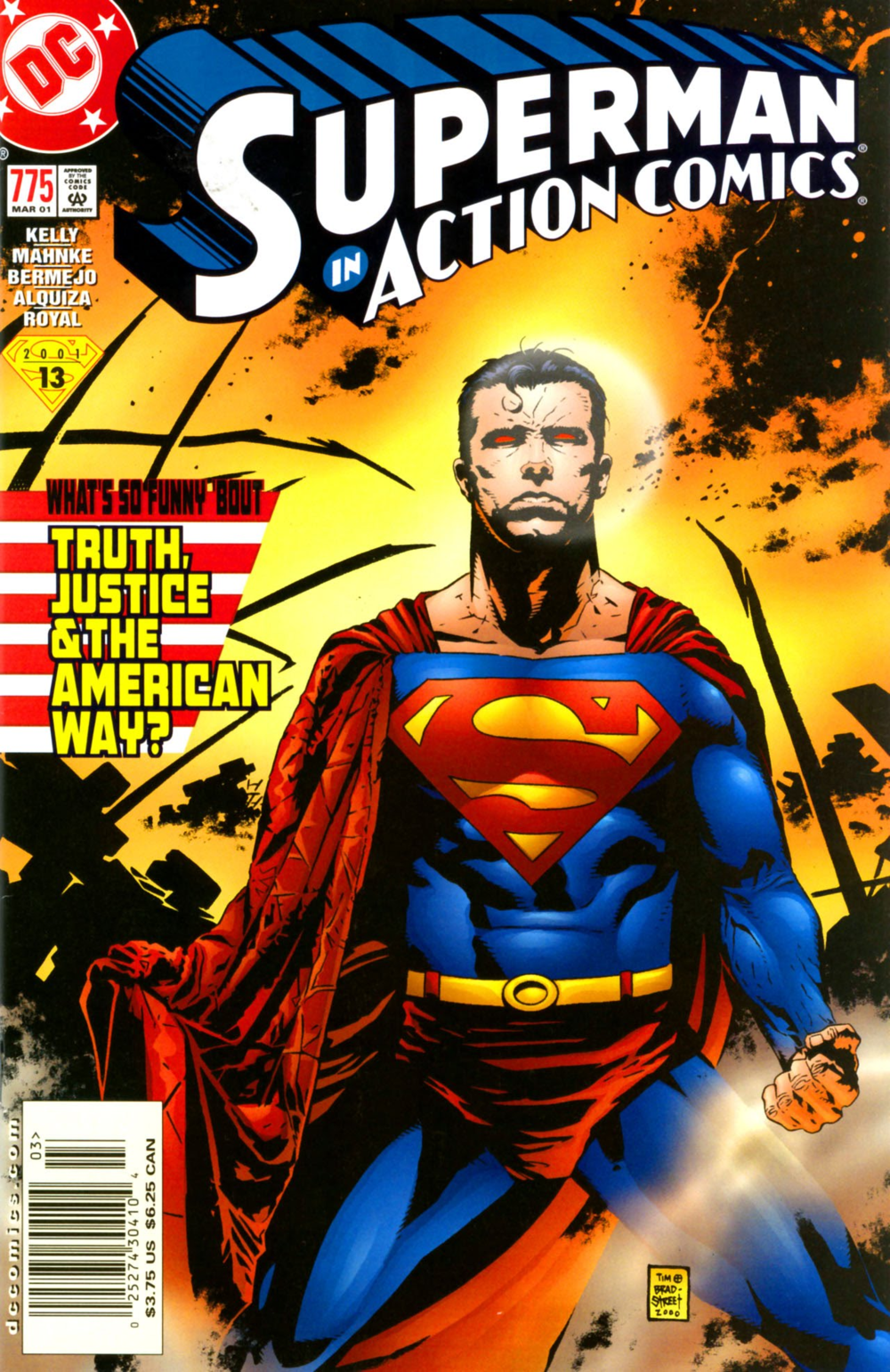 "Cover art to Action Comics (vol. 1) #775, ""What's So Funny About Truth, Justice & the American Way?"" Art by Tim Bradstreet."