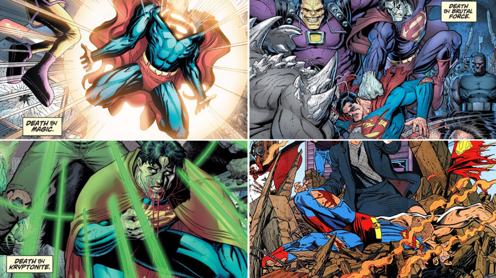 Death by magic, brutal force, and kryptonite, respectively, as depicted in Lex Luthor's fantasy from Action Comics Annual (vol. 1) #10. Art by Art Adams. In the last quadrant, Superman dies after battling Doomsday in Superman (vol. 2) #75. Art by Dan Jurgens.