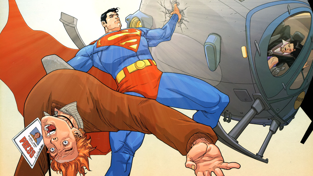 Superman saves Lois Lane and Jimmy Olsen when he reveals himself to the world for the first time in Superman: Birthright #4. Art by Leinil Francis Yu.