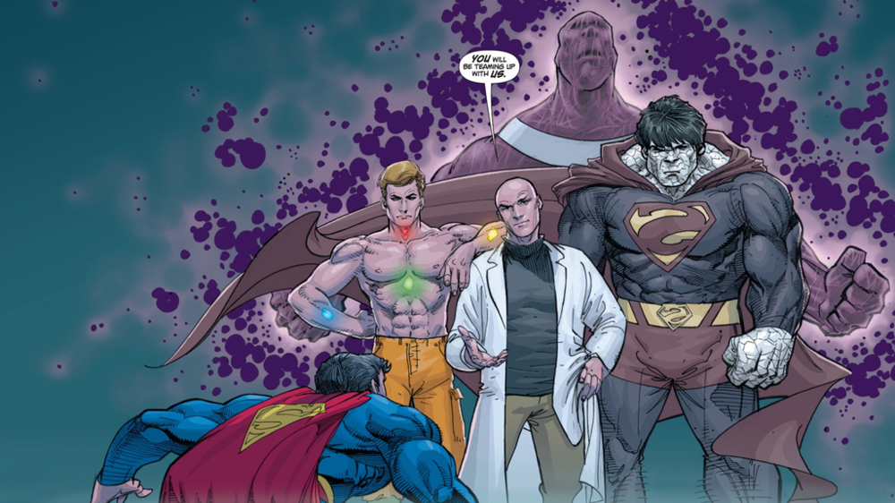 The Superman Revenge Squad, consisting of some of the Man of Steel's greatest enemies. L to R: Metallo, Lex Luthor, Parasite, and Bizarro. From Action Comics (vol. 1) #851. Art by Adam Kubert.