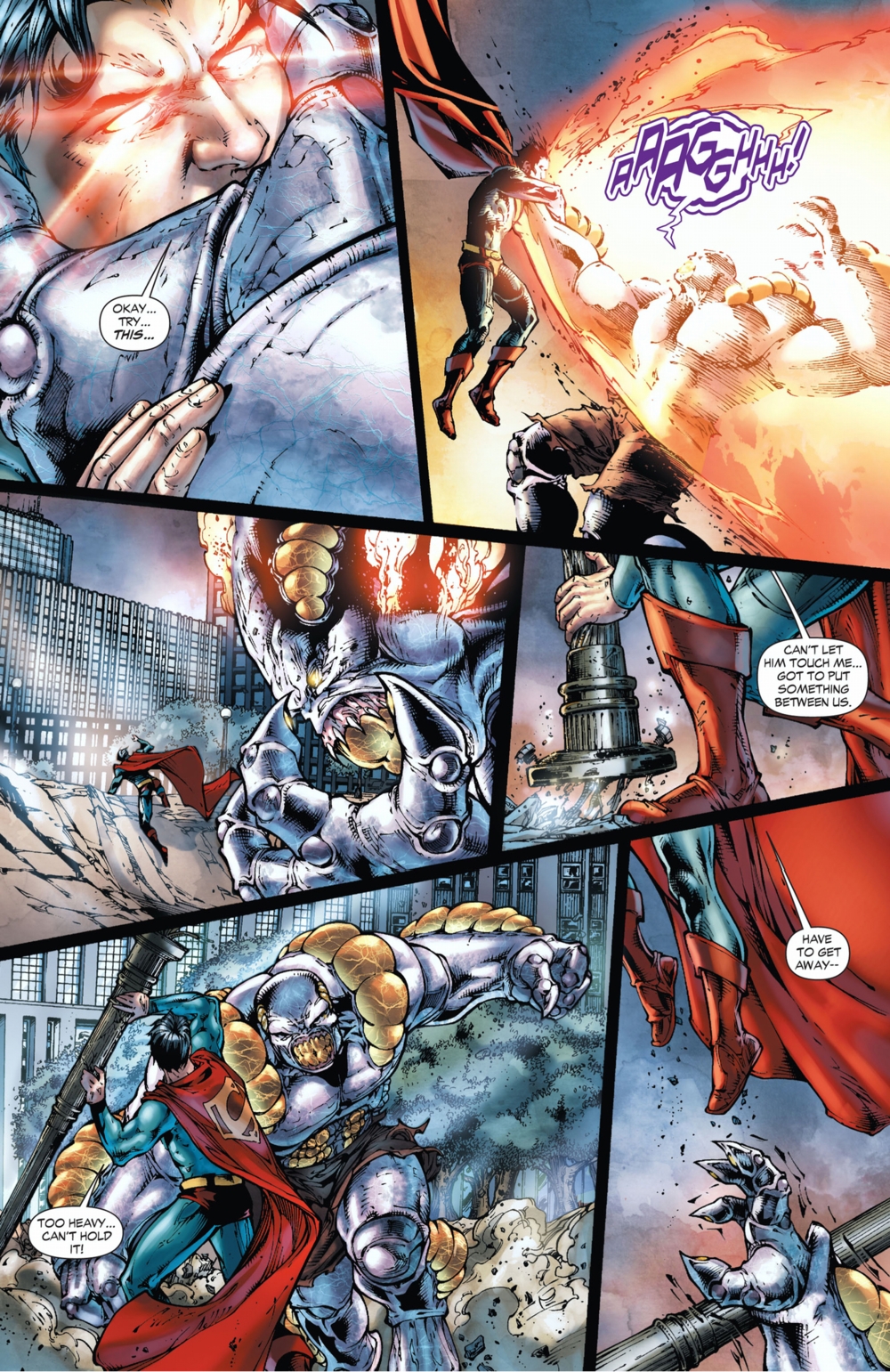 Superman fights for his life and Metropolis' existence in Superman: Earth One Vol. 2. Art by Shane Davis.