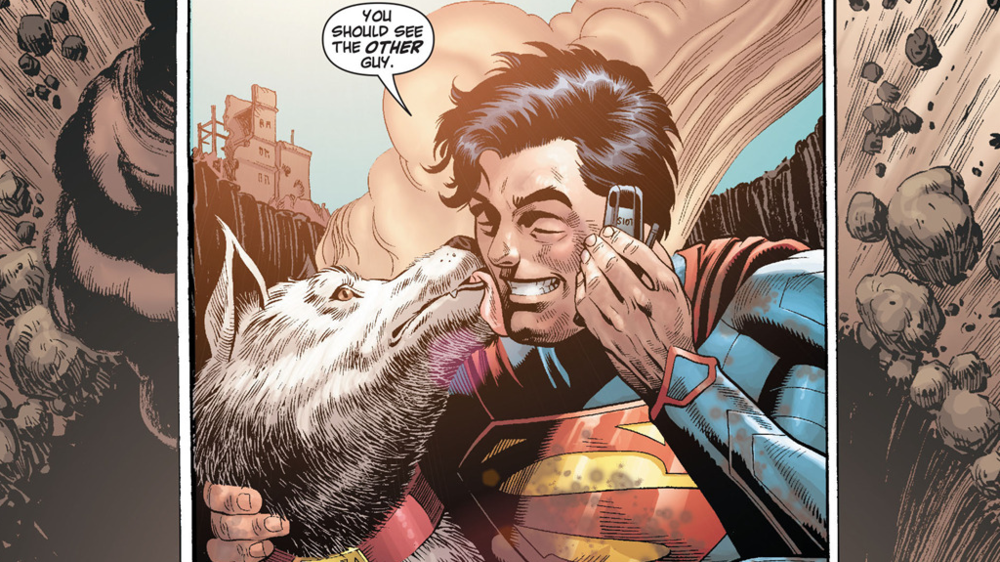 "Superman celebrates one of his earliest major victories in the ""New 52"" with Krypto. From Action Comics (vol. 2) #18. Art by Rags Morales."