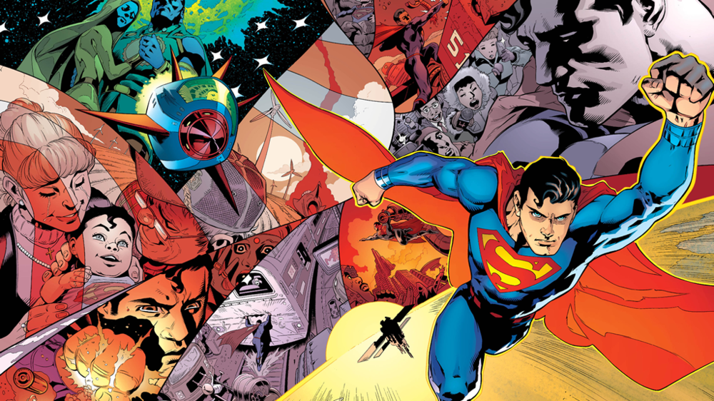 Superman's story recapped as the pre-Flashpoint Superman triumphantly returns to prominence in the opening pages of 2016's Superman (vol. 4) #1. Art by Patrick Gleason and Mick Gray.