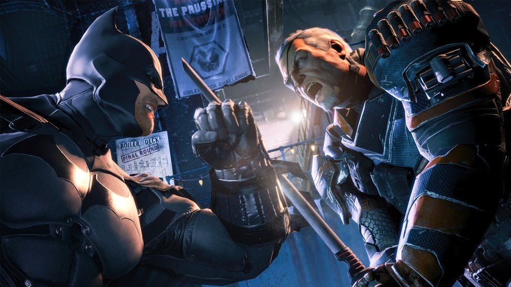 The single player campaign brings you into conflict with a lot of established Batman characters like Bane, and broader DCU characters like Copperhead and Deathstroke (pictured).