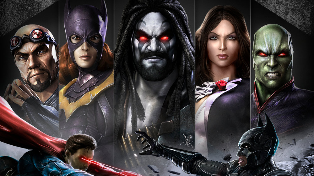 "Available either as DLC for the standard game or included in the ""Ultimate Edition,"" these five characters (L to R General Zod, Batgirl, Lobo, Zatanna, and the Martian Manhunter) were made available as playable characters.  Mortal Kombat 's Scorpion also made it onto the game's roster."