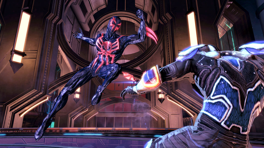 Definitely the flashiest of the four, Spider-Man 2099's gameplay variation is rooted in heightened speed and jaw-dropping futuristic environments.