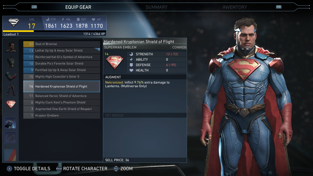 A look at  Injustice 2 's new gear system, with a level 17 Superman being customized.