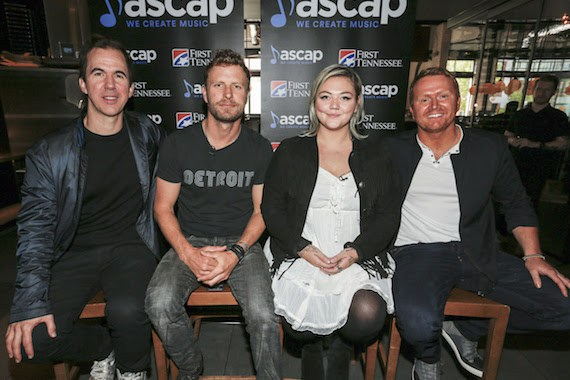 Pictured (L-R): Co-writer JT Harding, Dierks Bentley, Elle King and co-writer Shane McAnally. Photo: Ed Rode/ASCAP
