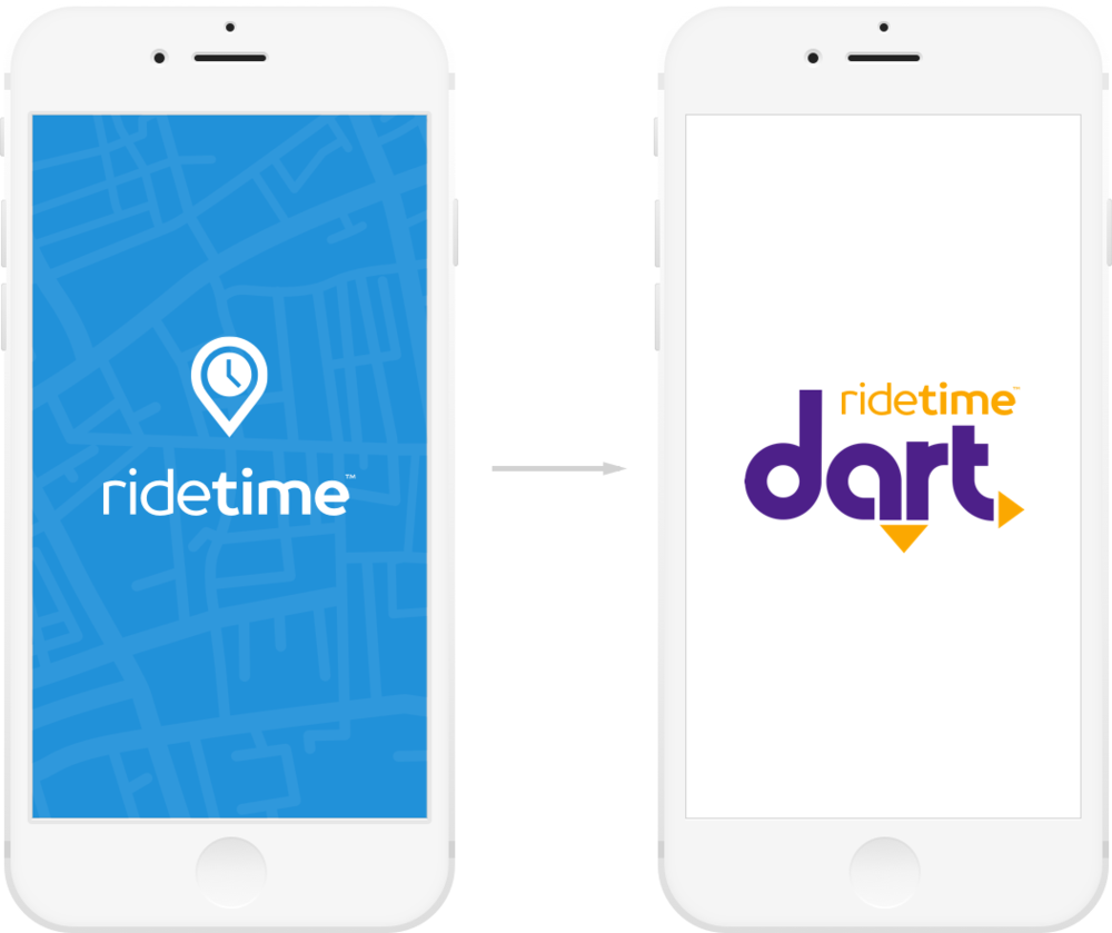 The default RideTime branding can be replaced with the transit agency's brand.