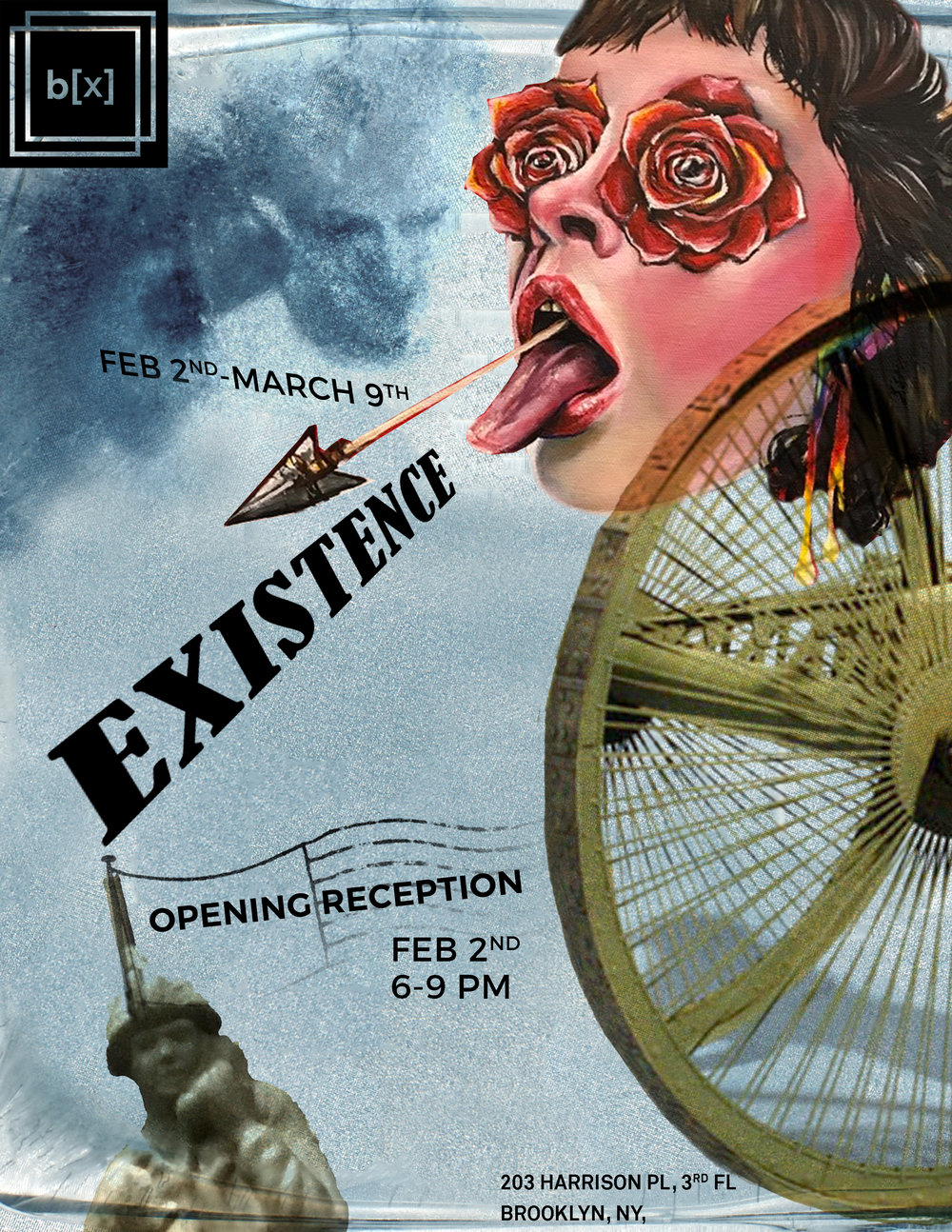 Existence February 2 - March 9 Opening reception: Friday, February 2, 6-9pm + How do you show your existence to the world? + What validates your existence? + Can you lose your existence? + Is death the end of existence? Artists: Rodrigo Moreira Alexis Price Negin Sharifzadeh