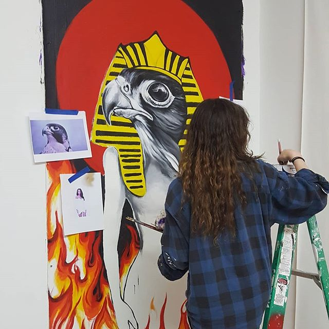 Artist Alexis Price @ipaintponies in action for the coming show at the Yonker art fair. * ***Thank you for following us at our new Instagram account @bxspaces * * #womanartist #brooklynbrushstudios #remergestudios  #bushwick #williamsburg #art #kunst #arte #gallery #creativecommunity #thebrushx #bxcommunity #supportcommunity #supportart #brooklynart #artistspace #makerspace #entrepreneur