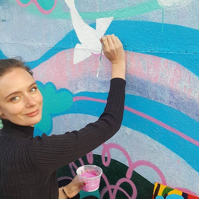 Artist Caty Wooley (member of remerge studios /bx spaces ) @catywooley work in progress  on her panels  at the coming soon beer garden in bushwick @wyckoffbeergarden * Thank you Artists, makers, technologists, art lovers, curators, galleries, and friends for your support! * * #womanartist #mural #spraypaintart  #brooklynbrushstudios #remergestudios  #bushwick #williamsburg #art #kunst #arte #gallery #creativecommunity #thebrushx #bxcommunity #supportcommunity #supportart #brooklynart #artistspace #makerspace #entrepreneur