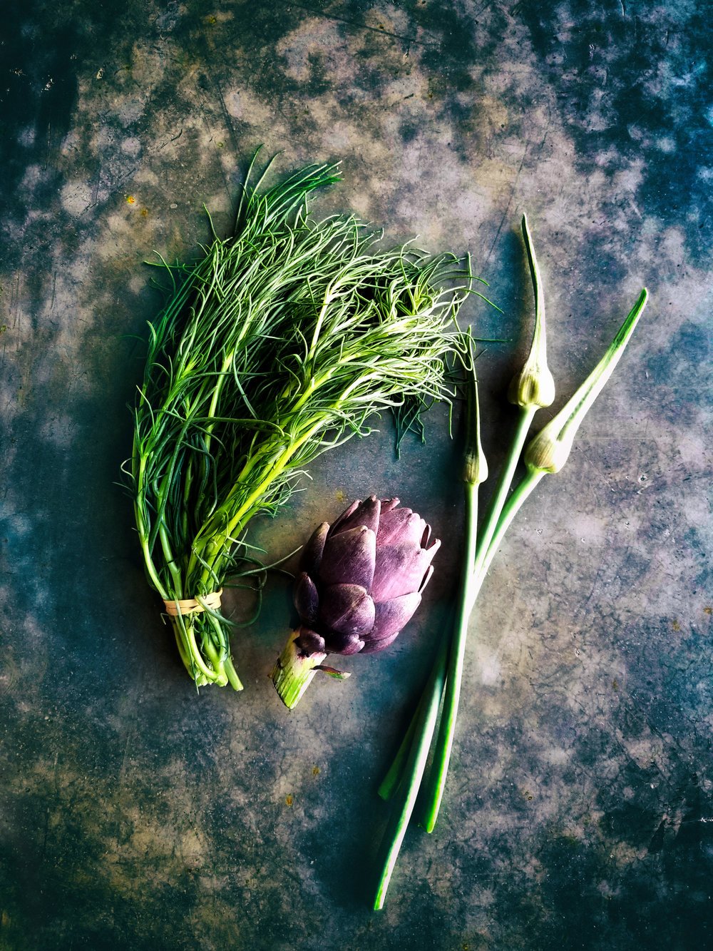 Italian Agretti, purple artichokes and scapes