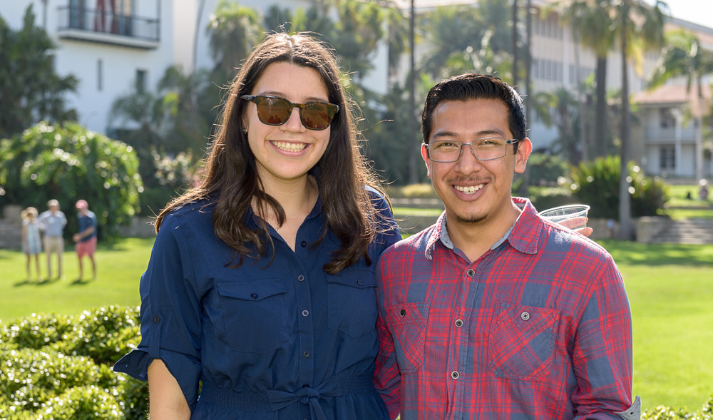 Adriana (left) and Javier (right) celebrating their graduation from REACH at the Sunken Gardens, two days before they left for Ecuador!