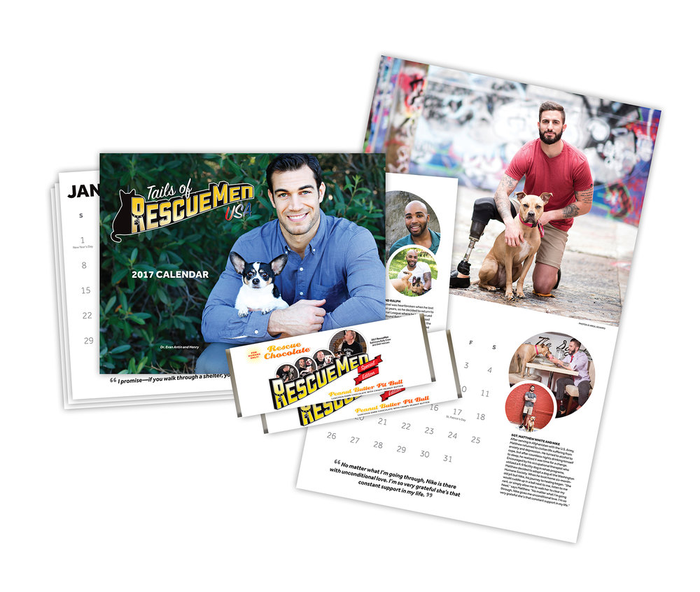 RescueMen USA Fundraising Calendar and Chocolate Bar Wrappers