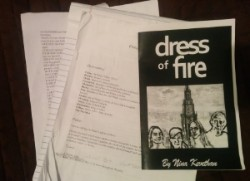 Krystal Sobaskie rehearses as Hecuba opposite to Austin Pendleton's King Priam in Nina Kethevan's  Dress of Fire .