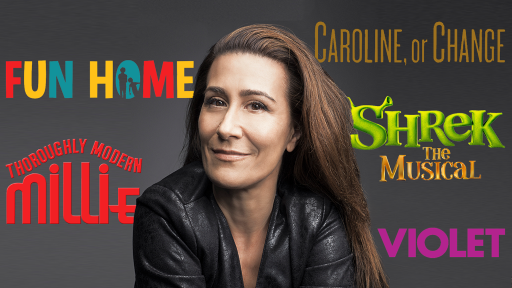 Tim Realbuto & Friends Sing Jeanine Tesori Concert Poster. Jeanine's Headshot is featured in the middle with the titles of her Broadway musical surrounding her: Fun Home, Thoroughly Modern Millie, Violet, Shrek The Musical, and Caroline, or Change.
