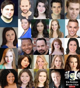 Concert Poster for: Because I Can: Part 2 at The Triad. Checkered together are the headshot portraits of all the young actors collaborating on the performance.
