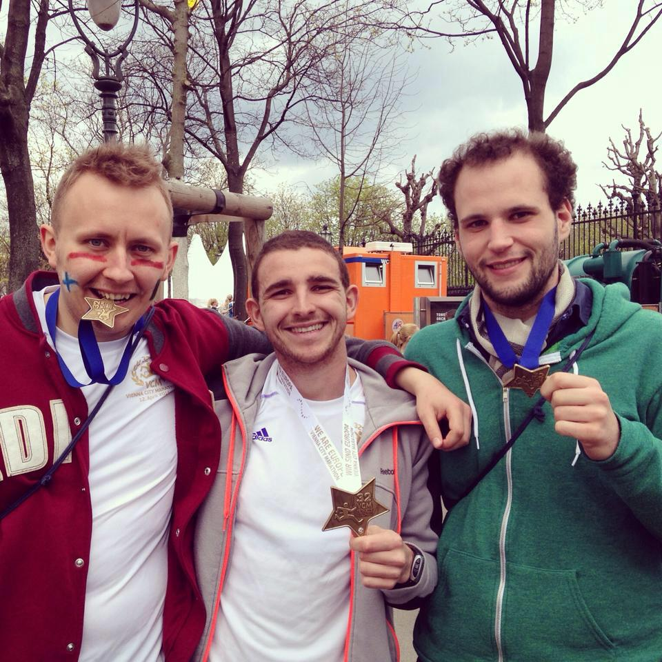 Vienna Marathon 2015   From left to right : Mikael Kosloff, Ralph and Henri