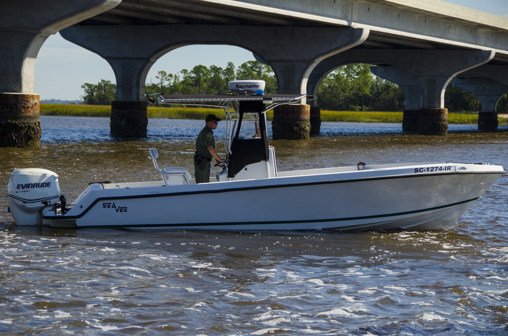 A Beaufort-area SCDNR Officer prepares to launch a patrol from the Edgar Glenn Boat Landing at the top of Port Royal Sound in the days following Hurricanr Matthew.