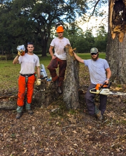 SCDNR employees Gil Harkins, Jordan Moses and Jon Poston worked tirelessly to clear damaged trees from the Webb Center.