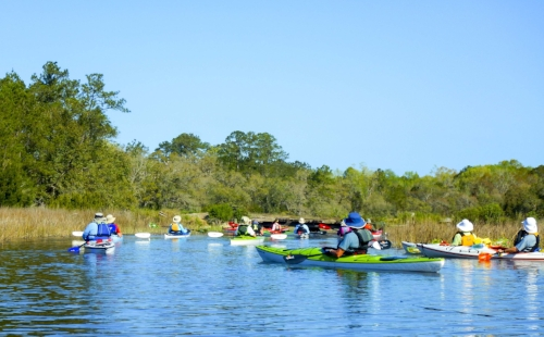 Members of the Sun City Hilton Head Kayakers Club on Briars Creek.