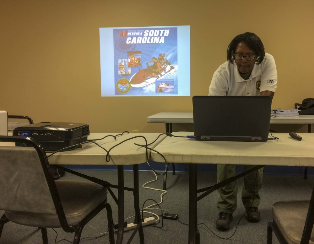 On a recent Saturday morning, SCDNR Sgt. Denetta Dawson prepares to deliver a boating safety class to a group of boaters (and aspiring boaters).
