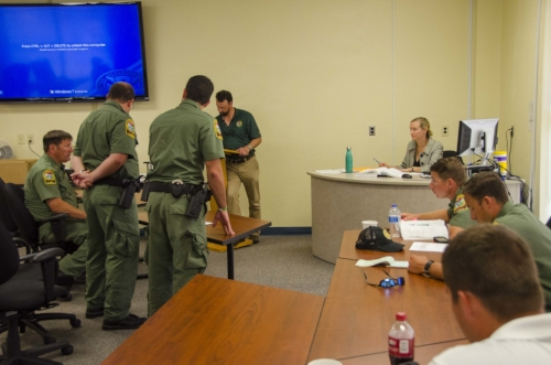 On theoir last day of formal training, officers participate in a mock magistrate's bench trials with instructors and SCDNR legal affairs staff playing the roles of defendants, attorneys and judge.
