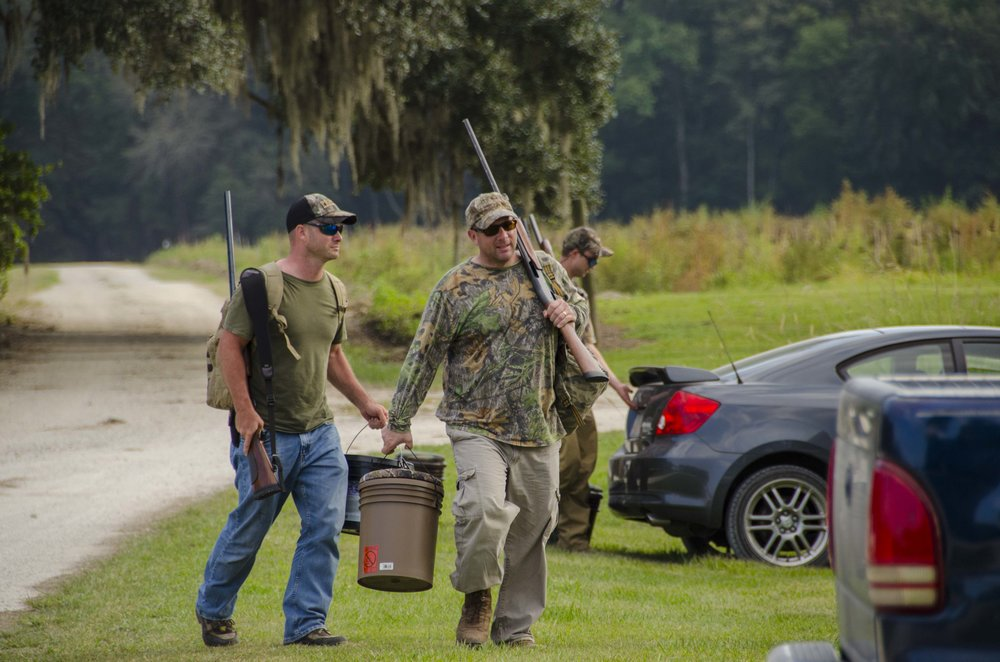 Hunters prepare to take the field at a public dove hunt at Donnelley WMA in Colleton County.  SCDNR property managers work to provide the public with well-managed fields for Dove hunting on WMA properties around the state.