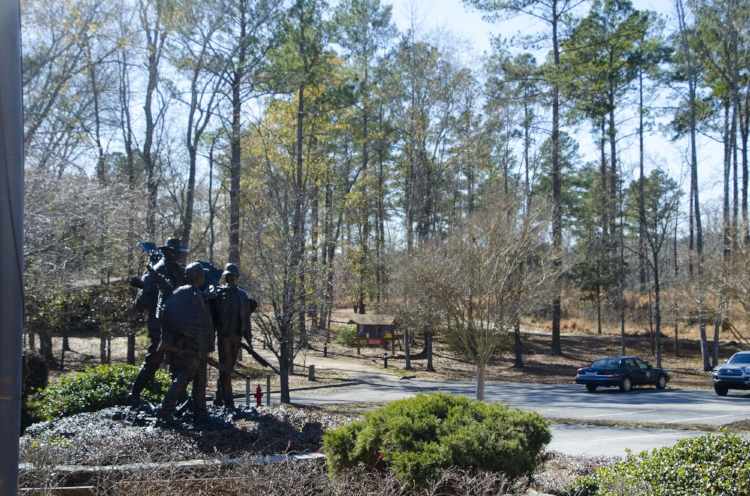 This statue outside the NWTF Headquarters in Edgefield commemorates our turkey hunting past and celebrates the future of the sport. (SCDNR photo by D. Lucas)