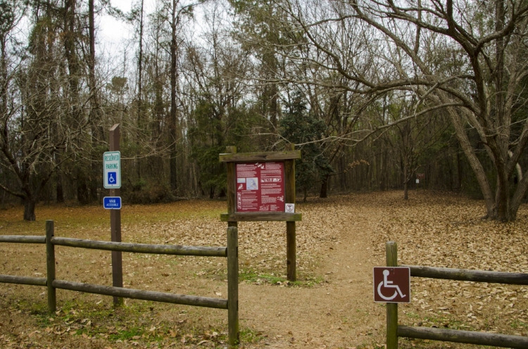 The entrance one-mile Wrights Bluff Nature Trail is located adjacent to the Santee Indian Mound.