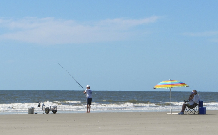 The best thing about hanging out on the beach is you can fish! (Or just sit in the shade, read a good book and wait for dinner to get reeled in).