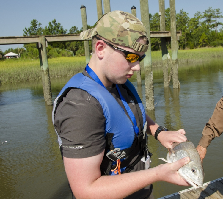 A small red drum landed (and released) from a Beaufort County dock.