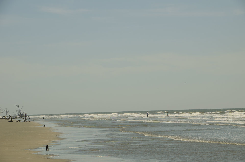 In summer, a dip in the gentle waves  off the boneyard beach is a welcome reward after the 1.5-mile hike from the dock.