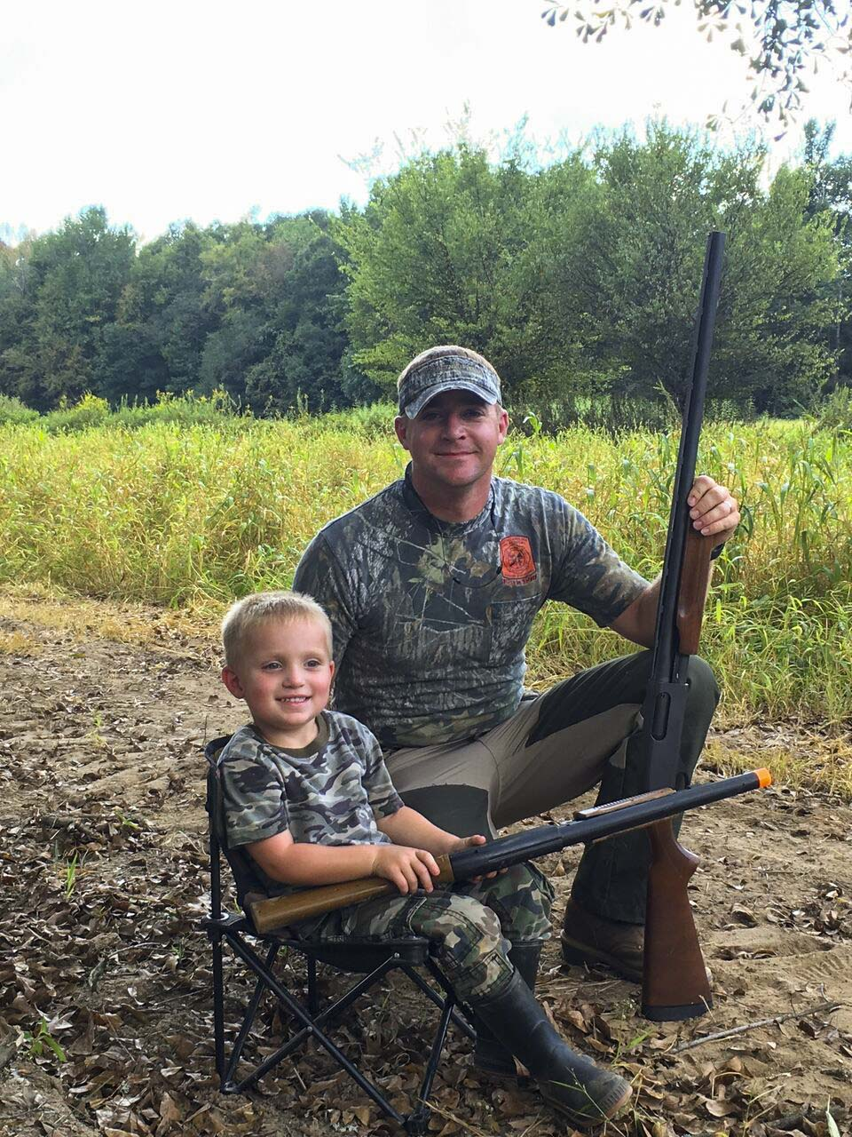 Father and son on Worthy Bottoms dove field.