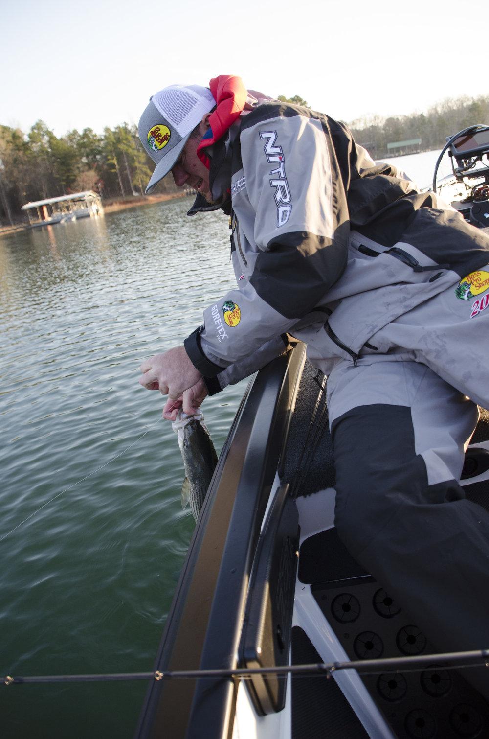 Bassmaster Elite Series angler Jason Williamson getting it done at Lake Hartwell in 2018.