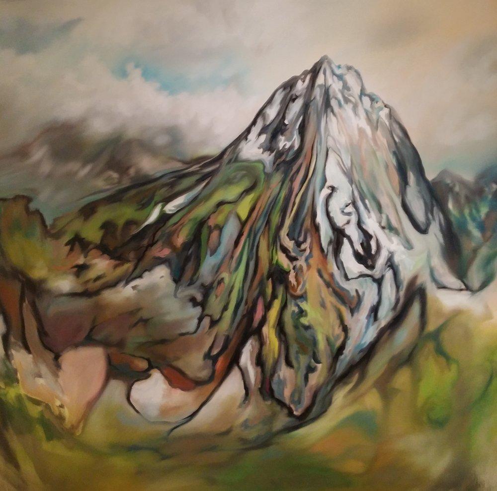 Jerome Evola,Mountain Peak,oil on canvas, 68 x 72 inches, 2016.