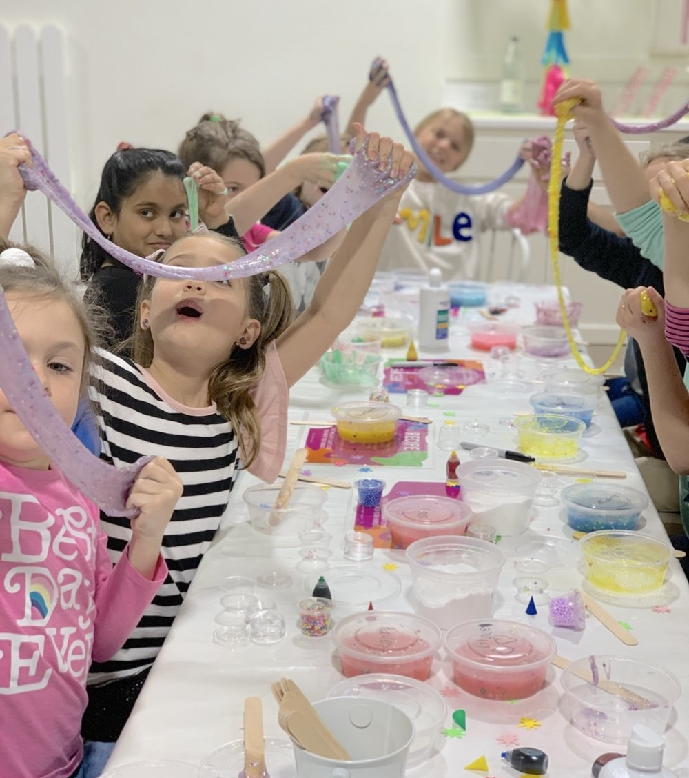 slime birthday party crafts pottery messy fun