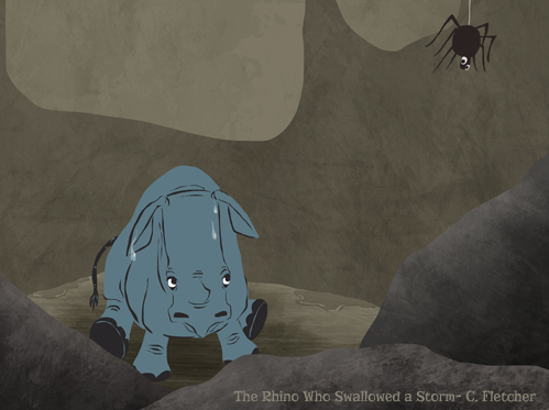 Rhino Who Swallowed a Storm depression grief illustration