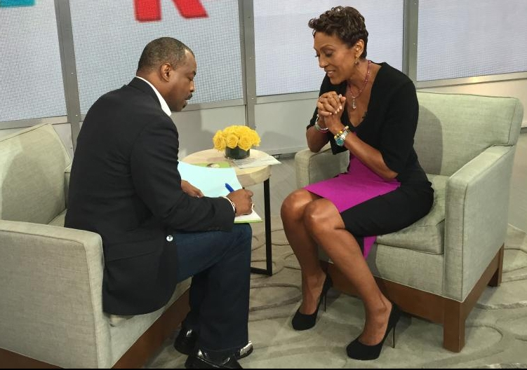 LeVar Burton debuting The Rhino Who Swallowed a Storm on GMA with Robin Roberts. Oct. 2014