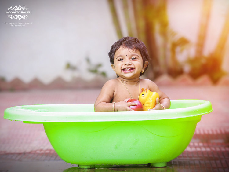 Jazylin loves being clicked and we had great time shooting her, here she is seen enjoying her bath tub during a portrait session in her home.