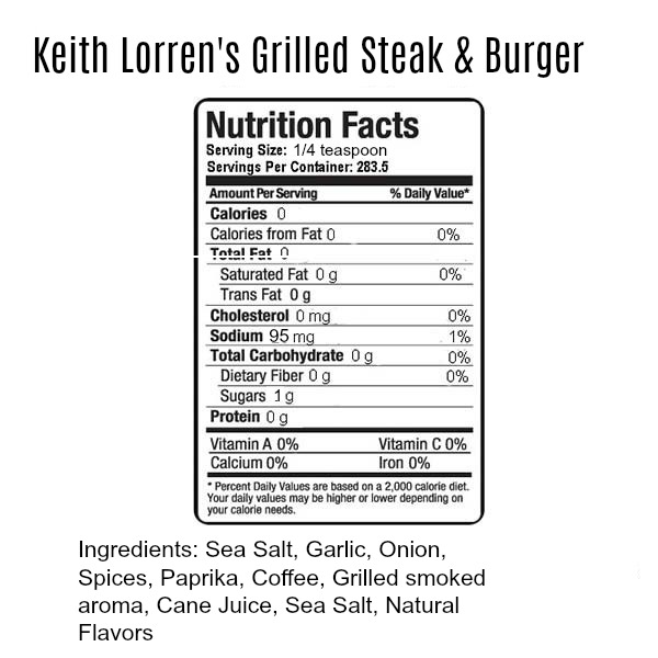 Keith Lorren Grilled Steak & Burger Seasoning