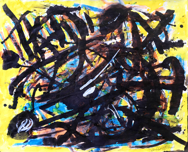 """Kendal Hanna. """"Untitled (Rainbow Explosion)"""", 1993, 13 x 16"""", watercolor on paper. Courtesy of The National Art Gallery of the Bahamas"""